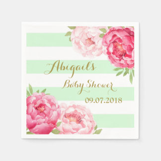 Mint Stripes Pink Watercolor Baby Shower Napkins