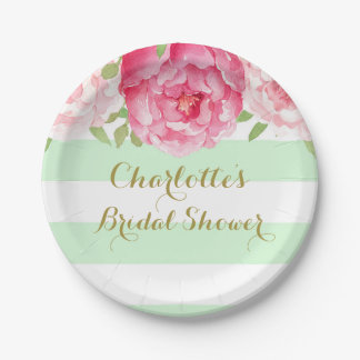 mint stripes pink watercolor bridal shower plate