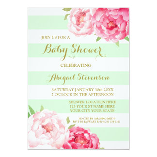Mint Stripes Pink Watercolor Flowers Baby Shower Card