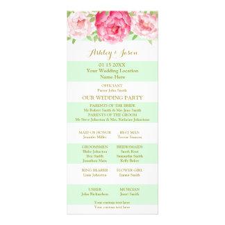Mint Stripes Pink Watercolor Wedding Program