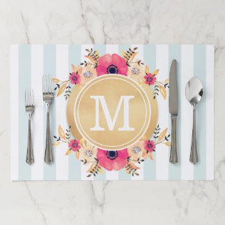 Mint Stripes Watercolor Flowers Faux Gold Monogram Paper Placemat