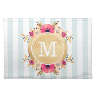 Mint Stripes Watercolor Flowers Faux Gold Monogram Placemat