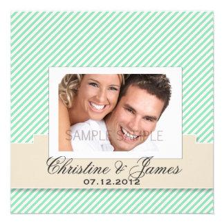 Mint stripes wedding invitation & your photo