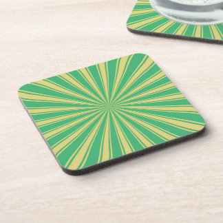 Mint Sun Rays Pattern Drink Coaster