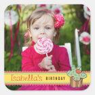 Mint Sweet Cherry Cupcake Photo Birthday Sticker