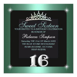 Mint Sweet Sixteen Tiara Birthday Invitation