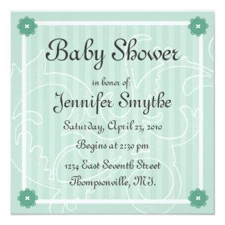 "Mint Swirl Flower Baby Shower Invitation 5.25"" Square Invitation Card"