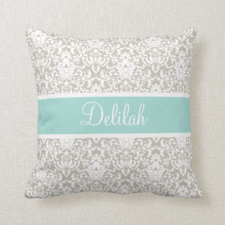 Mint Tan White Damask Custom Pillows