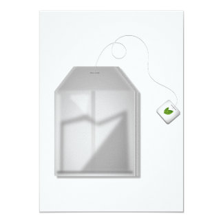 "Mint Tea Bag Invitations 5"" X 7"" Invitation Card"
