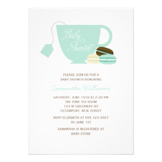 Mint Tea Cup and Macarons Baby Shower Custom Invitations
