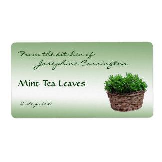 Mint Tea Leaves Labels