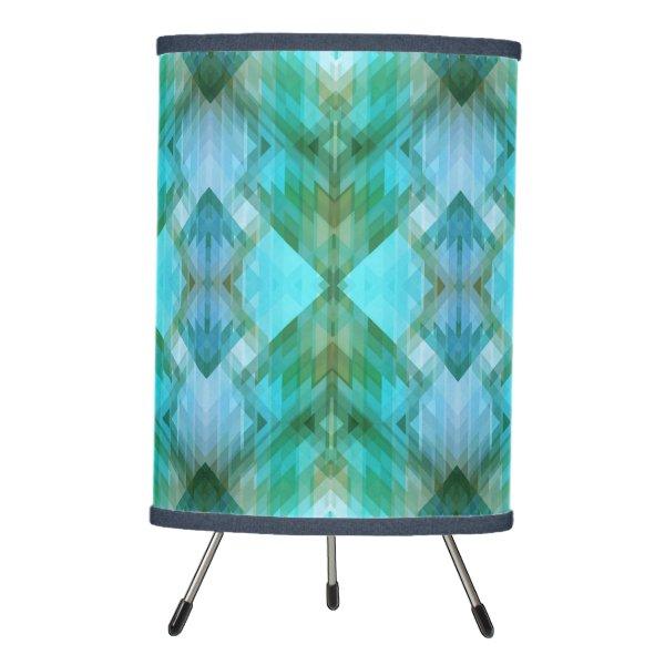 Mint Teal Aztec Geometric Pattern Design Lamp