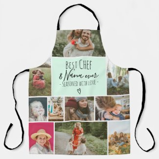 Mint teal Best chef and grandma photo collage grid Apron