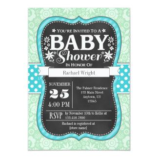 Mint Teal Chalkboard Floral Baby Shower Invite