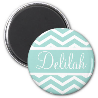 Mint Teal Chevron Custom Name 2 Inch Round Magnet