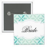 Mint & Teal Damask Bride 2 Inch Square Button