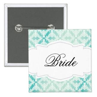 Mint & Teal Damask Bride Buttons