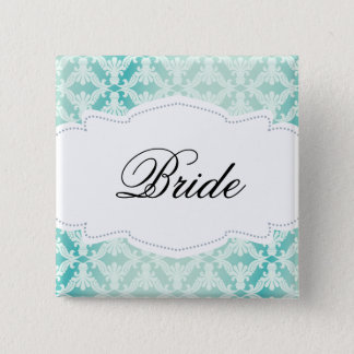 Mint & Teal Damask Bride Pinback Button
