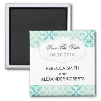 Mint & Teal Damask Save The Date Magnet