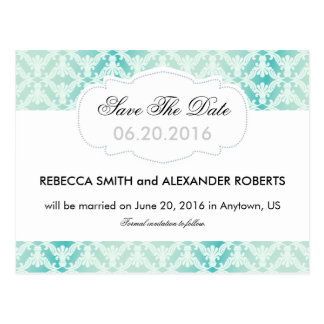 Mint & Teal Damask Save The Date Postcard