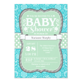 Mint Teal Gray Floral Flower Baby Shower Invite