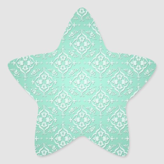 Mint Teal Green and White Damask Star Sticker