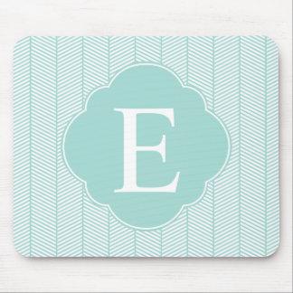 Mint Teal Herringbone Monogram Mouse Pad