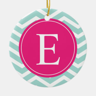 Mint Teal Pink Chevron Monogram Ceramic Ornament