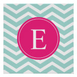Mint Teal Pink Chevron Monogram Poster