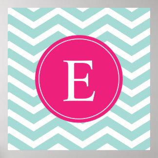 Mint Teal Pink Chevron Monogram Poster