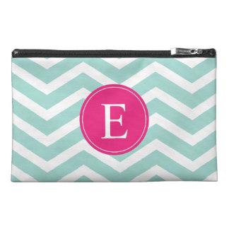 Mint Teal Pink Chevron Monogram Travel Accessory Bag