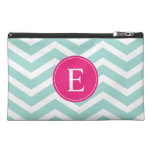 Mint Teal Pink Chevron Monogram Travel Accessory Bags