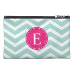 Mint Teal Pink Chevron Monogram Travel Accessory Bags