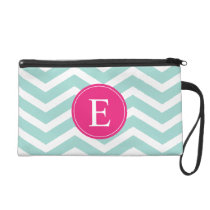 Mint Teal Pink Chevron Monogram Wristlet Purse