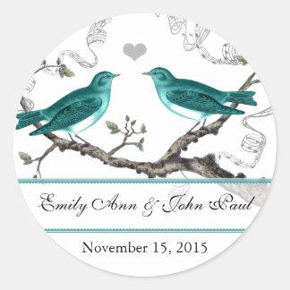 Mint Teal Romantic Rustic Love Bird Wedding Classic Round Sticker