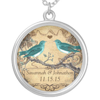 Mint Teal Romantic Rustic Lovebird Wedding Necklace