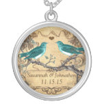 Mint Teal Romantic Rustic Lovebird Wedding Round Pendant Necklace