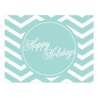 Mint Teal White Chevron Happy Holidays Postcards