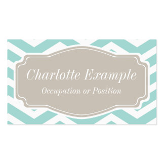 Mint Teal White Tan Chevron Personal Business Card