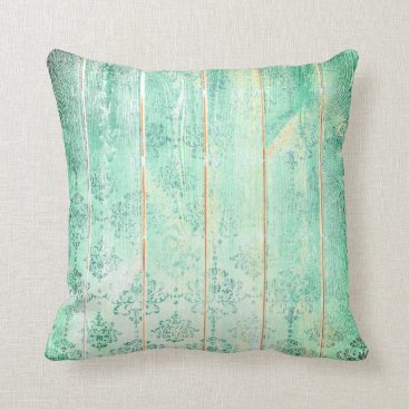 Beach Themed Mint Tiffany  Damask Metallic Wood Cottage Home Throw Pillow