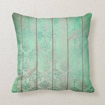 Beach Themed Mint Tiffany Teal Green Damask Wood Cottage Home Throw Pillow