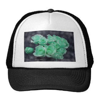 Mint tinted bouquet of roses hats