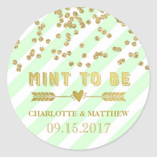 Mint to Be Gold Confetti Wedding Favor Tags