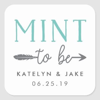 Mint to Be   Personalized Wedding Favor Square Sticker