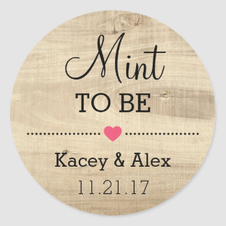 Mint To Be Stickers Rustic Wood Wedding Favors