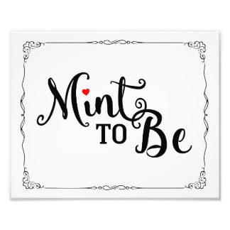 mint to be, wedding favor, wedding sign, black red photo print