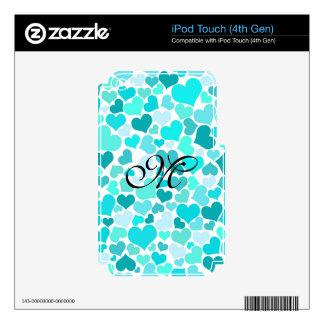 Mint Trendy Monogram Confetti Hearts Girly Cute iPod Touch 4G Skin