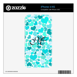 Mint Trendy Monogram Confetti Hearts Girly Cute Skin For iPhone 4