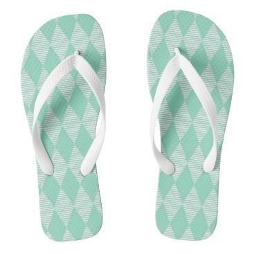 Beach Themed Mint triangle Diamond pattern Flipflop Flip Flops