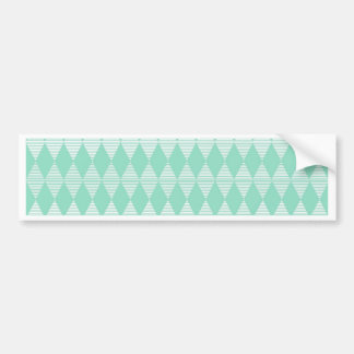 Mint Triangle - Diamond pattern with white stripes Bumper Sticker
